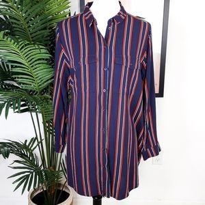 H&M Blue Red Striped Button Up Tunic Top  14